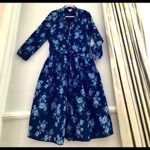 Gap Blue on Blue Cotton Linen Day Dress
